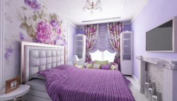 100 дизайнерских решений фиолетовой спальни