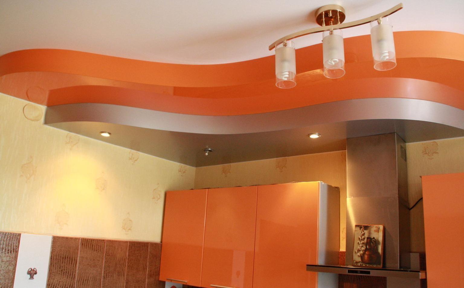 Потолки несколько уровней фото для кухни