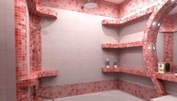 Интересные стилевые решения полок для ванной комнаты